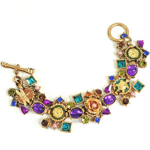 Gold Tone Bracelet Purple Green Blue Rhinestones